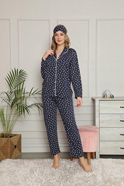 Manolya Kadın Mavi Pijama Takımı Göz Bandı