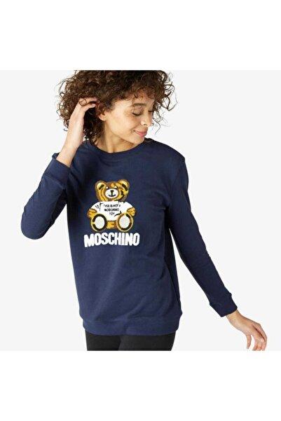 Moschino Kadın Lacivert Kabartma Ayıcık Baskılı Sweatshirt