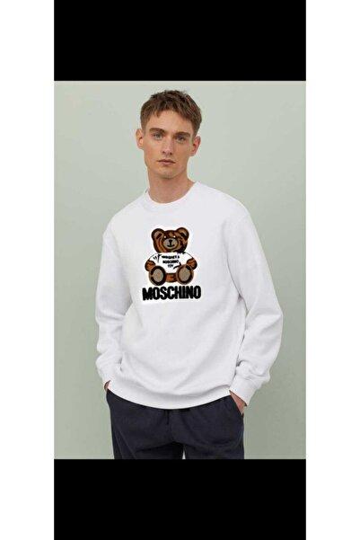 Moschino Beyaz Ayıcık Dokuma Baskı Erkek Sweatshirt