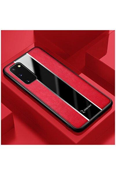 Dara Aksesuar Samsung Galaxy S20 Plus Uyumlu Kırmızı Deri Telefon Kılıfı
