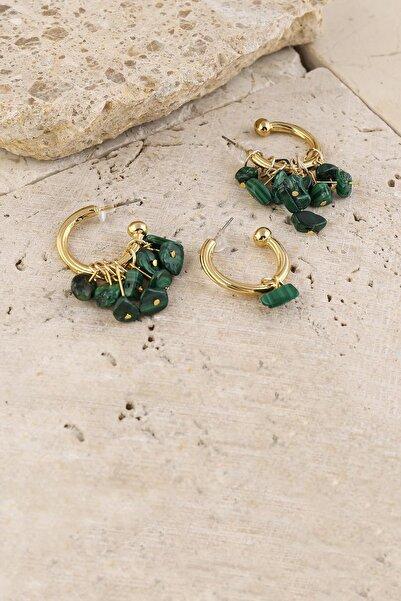 New Obsessions Kadın Yeşil Doğal Taş Saçağı Küpe 3'lü