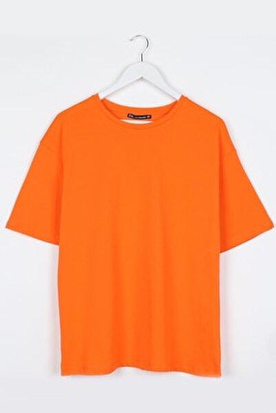 Turuncu Kadın Basic Oversize Tshirt