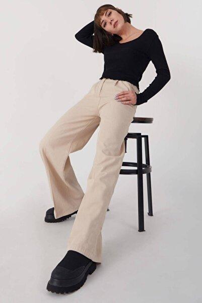 Addax Kadın Taş Bol Paça Kemerli Pantolon Pn4361 - M13 ADX-0000023646
