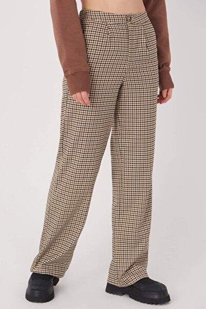 Addax Kadın Kahve Ekose Pantolon Pn8098 - T1 ADX-0000023563