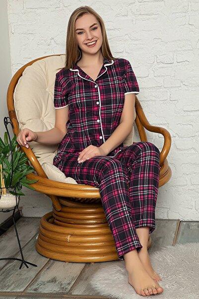 D-Paris Ekose Düğmeli Pijama Takımı