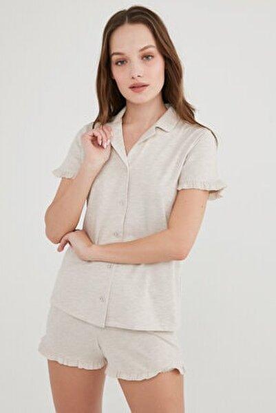 Kadın Ten Melanj Gömlek Şort Pijama Takımı
