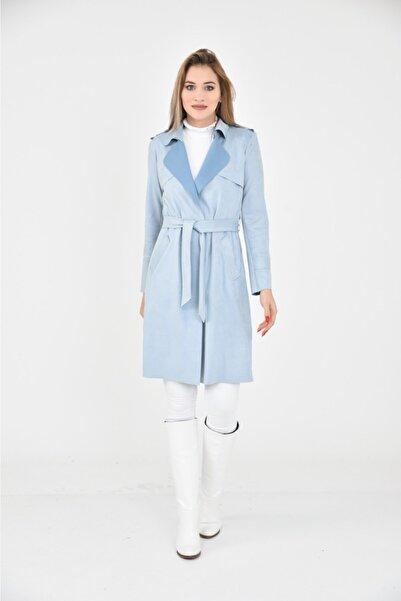 polo angels Kadın Mavi Süet Trençkot