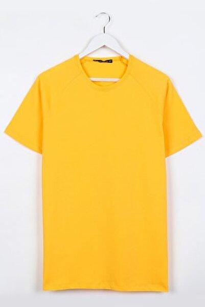 Sarı Reglan Kol Basic Unisex Tshirt