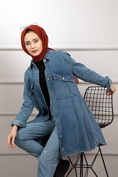 lamelif store Kadın Mavi Kot Ceket 2103