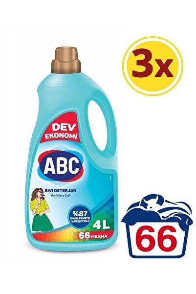 ABC Renklilere Özel Sıvı Deterjan 4 Lt 3 Lü Set