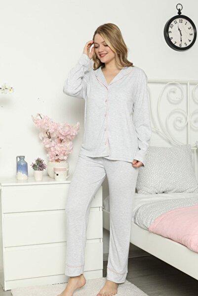 ASL Kadın Gri Düğmeli İnterlok Pijama Takımı
