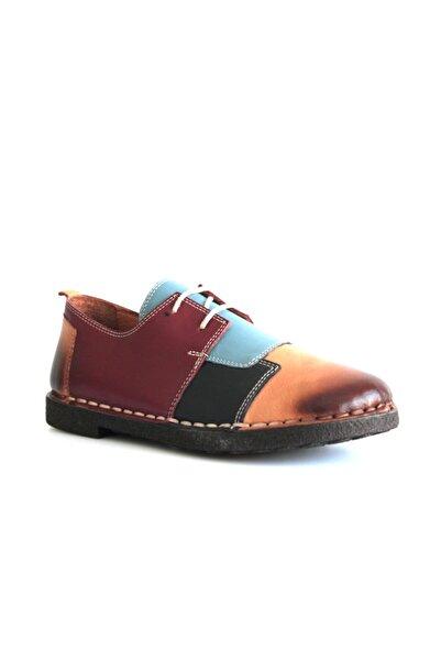 Beta Shoes Kadın Bordo Renkli Hakiki Deri Casual Ayakkabı