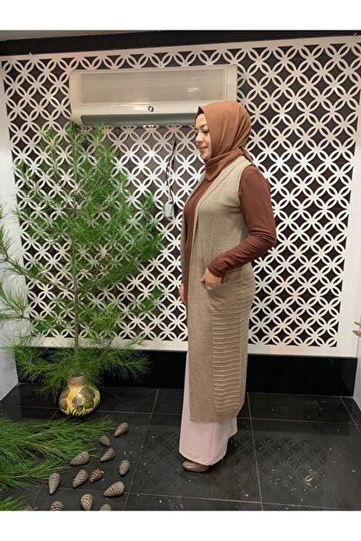 Tuna Kadın Bej Renk Uzun Yelek