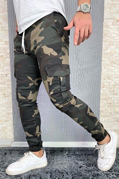 VİP LOKAL Erkek Haki Askeri Koyu Kamuflaj Desen Likralı Kargo Pantolon