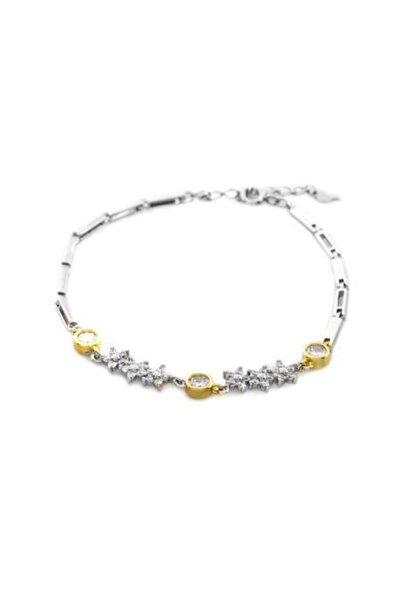 Tesbihane Kadın Zirkon Taşlı Çiçek Tasarım 925 Ayar Gümüş Su Yolu Bileklik