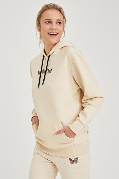 DeFacto Kapüşonlu Nakışlı Sweatshirt