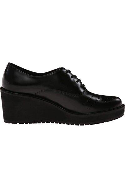 CLARKS Kadın Siyah Deri Ortopedik Ayakkabı Topuk 7 Cm Comfort Game Oval