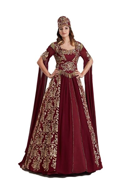Ceyyiz 5 Parça Bindallı Şifon Desenli Kına Elbisesi Sarmaşık