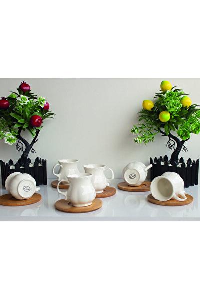 Lavin Porselen Bambu Tabaklı Fincan Seti