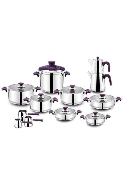 Aryıldız King Cam Ideal 22 Parça Çelik Tencere Takımı Purple