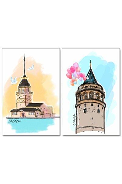 Fatofotofan Buzdolabı Magneti 2'li Set Galata Kulesi,kız Kulesi,istanbul
