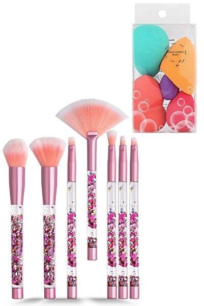 GNX Liquid Glitter Makeup Brush Set - Sıvı Pırıltılı Makyaj Fırçaları & 5'li Latex Makyaj Süngeri