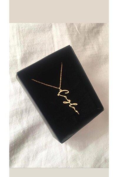ernsilver Kadın Özel Tasarım Dikey Isimli Gold Rose Renk 925 Ayar Gümüş Kolye