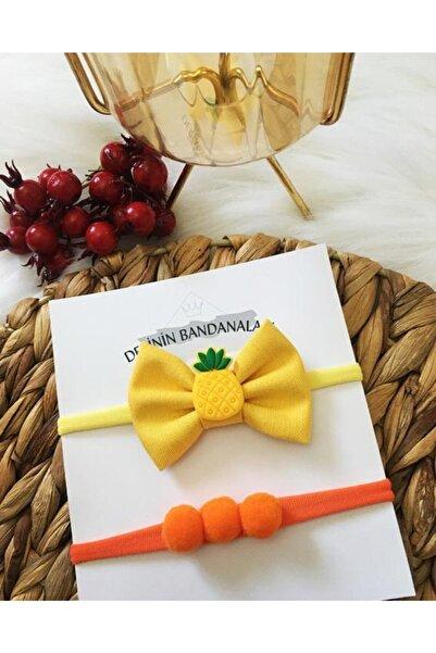 Derinkids 2'li Sarı Ananaslı Bebek Bandana Seti