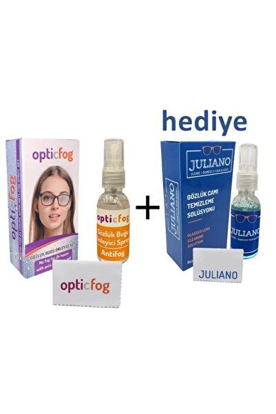 JULIANO Opticfog Gözlük Buğu-buhar Önleyici Antifog Set 30 ml + Gözlük Dezenfektan Temizleme Seti Hediye