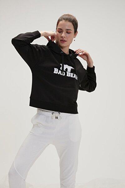 Bad Bear Kadın Crop Sweatshirt Siyah 20.04.12.007