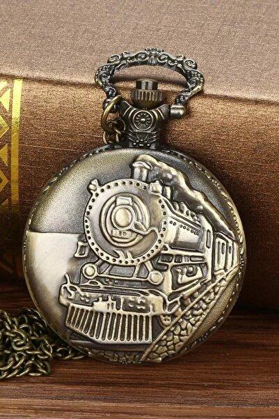 Gezginimport Kabartmalı Tren Temalı Köstekli Cep Saati