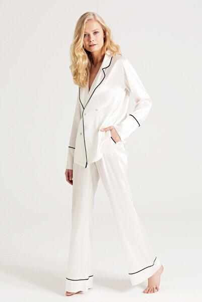 zau Saf Ipek Pijama Takımı Biyeli Kırık Beyaz