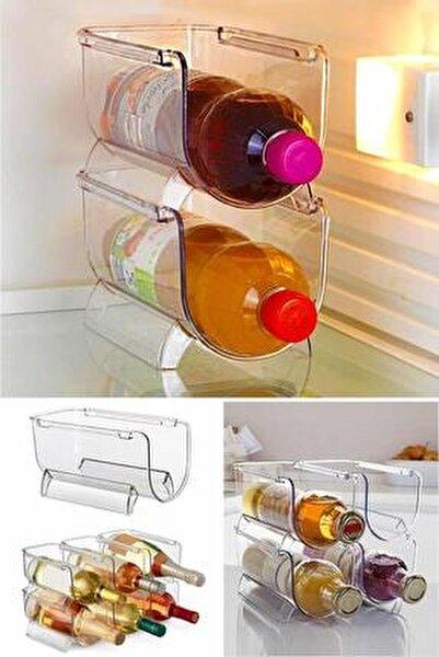 Buzdolabı Düzenleyici Şişe Rafı İç İçe Geçmeli Kozmetik Rafı