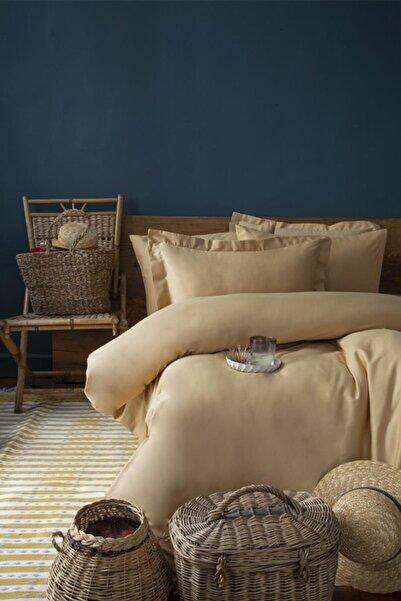 İssimo Home Simply Hardal Çift Kişilik Pamuk Saten Fitted Çarşaf Seti (160x200)