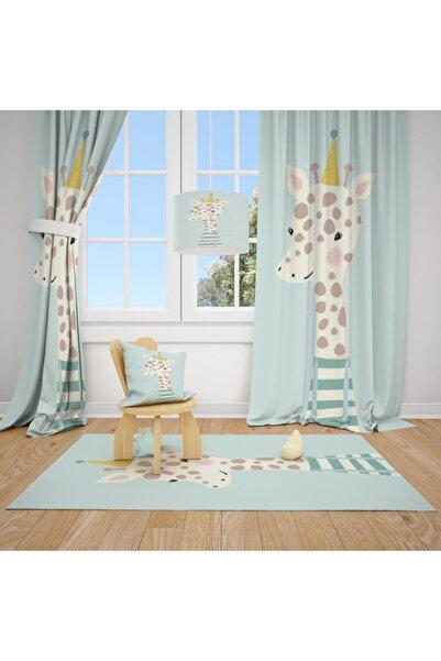 CİCİ TASARIM ÜRÜNLERİ 2 Kanat Sevimli Zürafa Çocuk Bebek Odası Perdesi Fon Perde