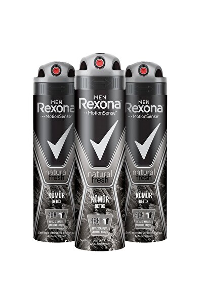 Rexona Men Natural Fresh Kömür Detox Erkek Sprey Deodorant 150 ml x3