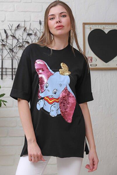 Chiccy Kadın Siyah Çizgi Fil Baskılı Pul Detaylı Yanı Yırtmaçlı T-Tshirt M10010300TS98369