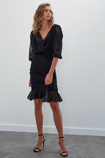 JOIN US Uzun Kollu Büzgülü Triko Elbise-siyah
