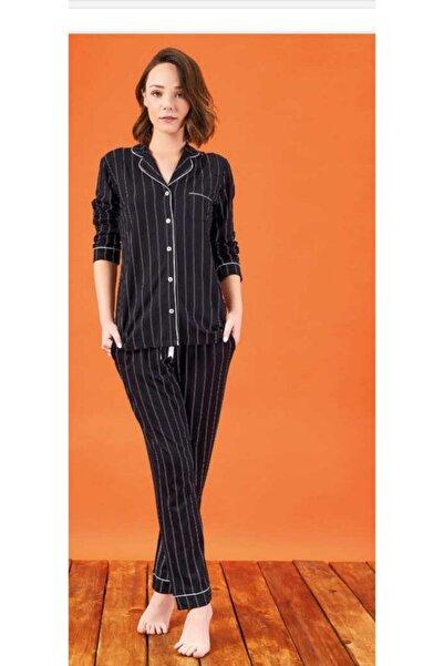 PJS Kadın Düğmeli Uzun Kol Pijama Takım