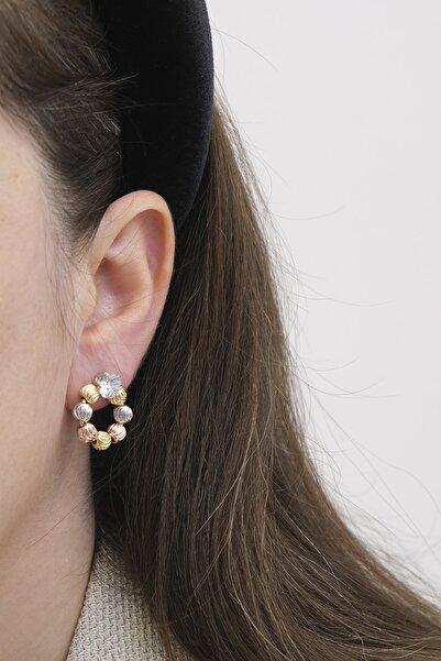 Marjin Kadın Altın Rose Platin Renkli Toplu Halka Küpe