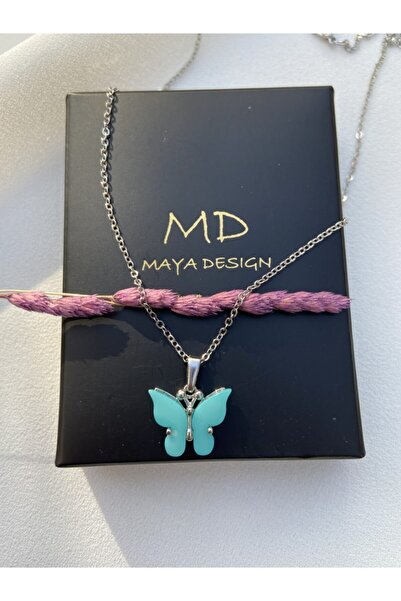 Maya Kadın Koyu Mavi Kelebek Kolye