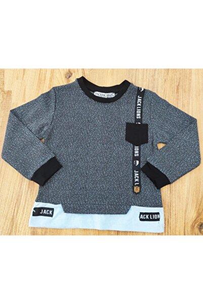 Riccotarz Erkek Bebek Jakarlı Siyah Sweatshirt