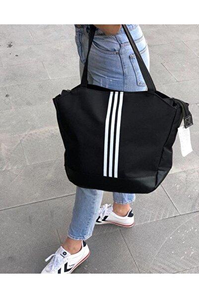 Leila Çanta Siyah Büyük Boy Siyah Beyaz Çizgili Kadın Spor Çanta