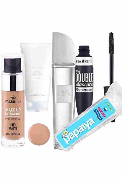 Gabrini Hd Matte Fondöten 02 + Double Maskara Waterproof + Pur Blanca Edt 50 ml Kadın Parfüm - Losyon