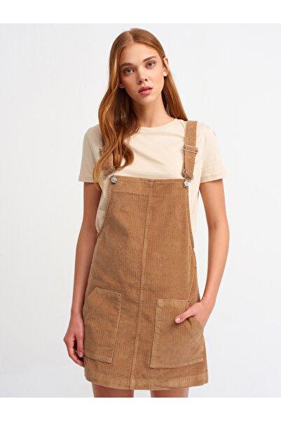 Dilvin 9772 Kadın Bej Kadife Salopet Elbise