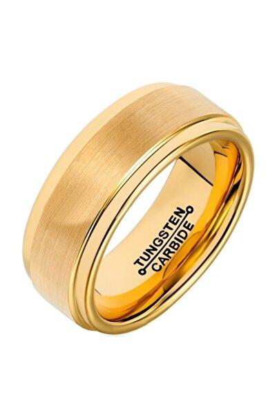 Chavin Unisex Parlak ve Mat Gold Tungsten Yüzük dm83