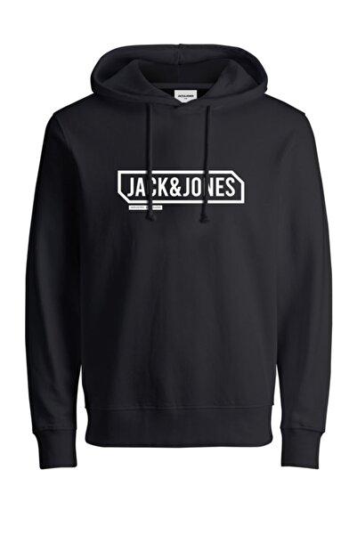 Jack & Jones Erkek Siyah Jcocanno Hood Sweatshirt 12191402
