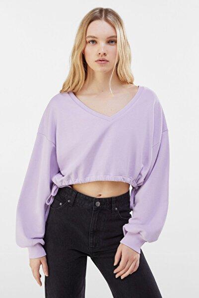 Bershka Kadın Mor Cropped Sweatshirt