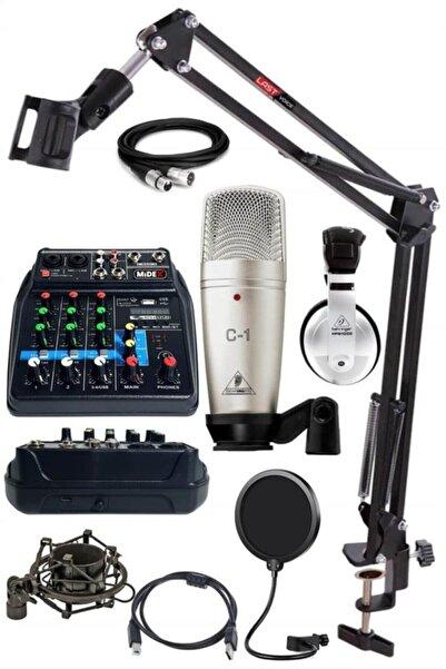 Behringer Quadcast Set C-1 Mikrofon Midex Mikser Stand Kulaklık Full