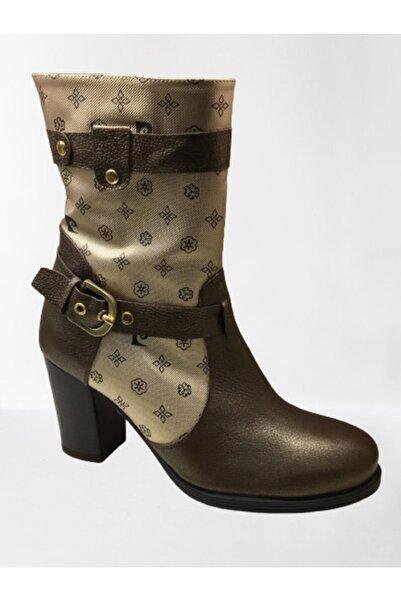 Pierre Cardin Kadın Kahverengi Gold Detaylı Kemerli  Çizme